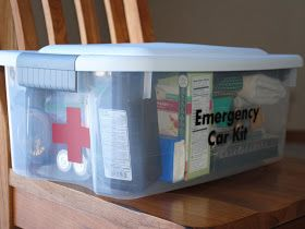 I like this car emergency kit better! Its bigger, can't get squished, and even has a cute first aid sign on it!