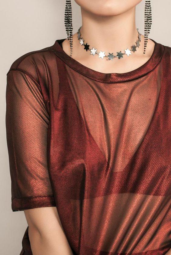 camiseta transparente com brilho (Ziovara)