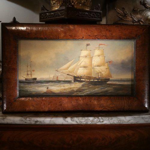 """John Scott (1802-1885)""""Brick charbonnier à l'ouvert de la Tyne""""- Elève de John Wilson Carmichael, J.Scott devint rapidement le spécialiste des représentations de navires en situation. Fin connaisseur, il fut marin jusqu'en 1834, ses oeuvres sont soutenues par un réalisme et une précision de détails. Né à South Shields en 1802, John Scott a peint toute sa vie dans cette région avant d'y mourir à l'àge vénérable de 83 ans"""