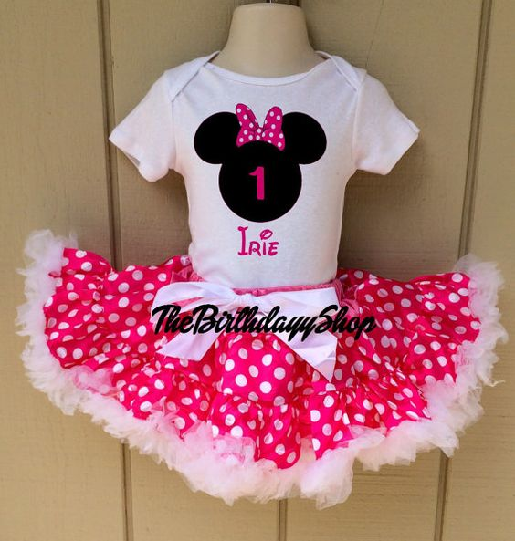 Hot Pink Minnie Mouse Tutu set first Birthday by TheBirthdayyShop