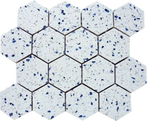 Terrazzo Mosaic Tile 3 Hexagon 12x12 Mesh Backing Color Blue