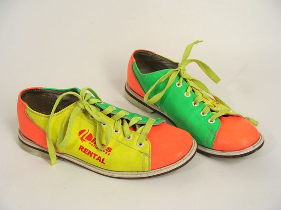 vintage 80s Neon Green Yellow and Orange Leather Bowling Shoes ...