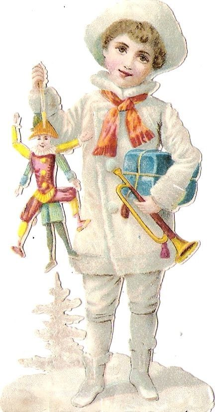 Oblaten Glanzbild scrap die cut chromo Winter Kind child snow Kasperl doll Puppe: