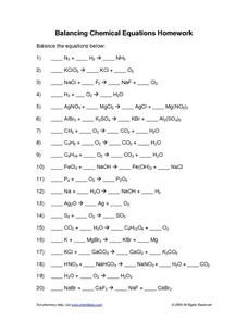 Printables Chemistry Worksheet Answers balancing equations chemistry worksheet pichaglobal