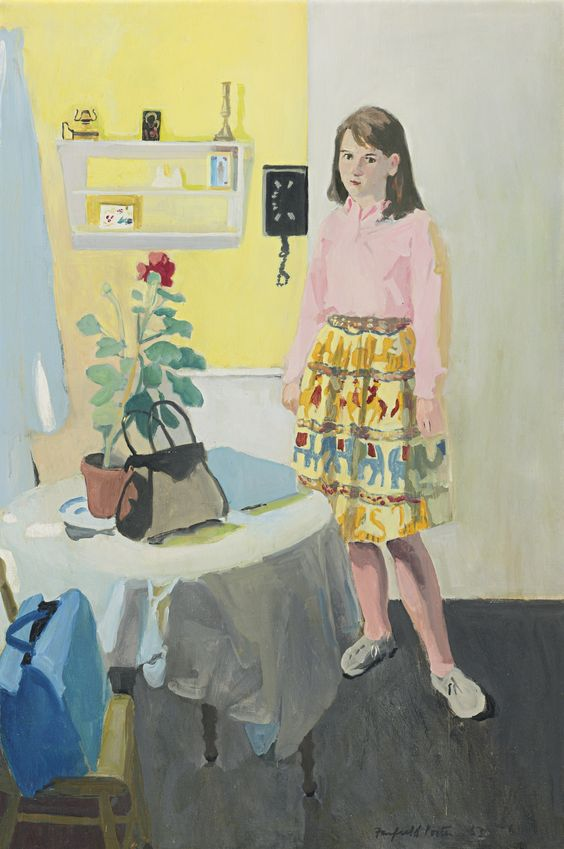 """Girl and Geranium,"" Fairfield Porter, 1963, oil on canvas, 45 x 30"", private collection."