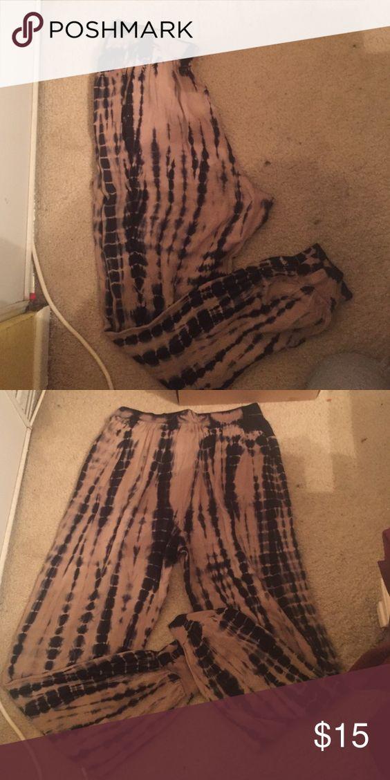 Harlem pants 100% rayon Harlem pants tan/ black bleach like spots Rewash Pants Track Pants & Joggers