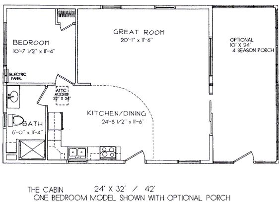 Cabin floor plans one room cabins and floor plans on for 16x32 cabin floor plans