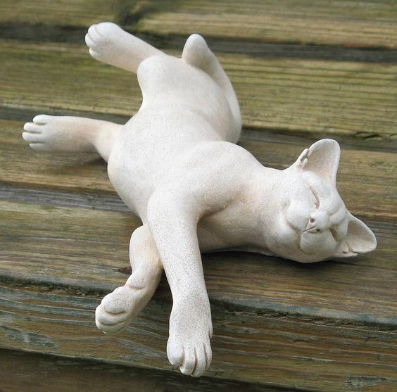 Cat Sculptures by Suzie Marsh - Would look adorable in a garden.: