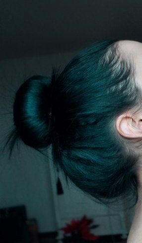 """dark teal hair... GUYS (this isn't my hair-)but mine is done! I did it first with koolaid but it didn't work great for the whole head so I went back and did it with actual dye (ION) and yay! I""""m so excited!"""