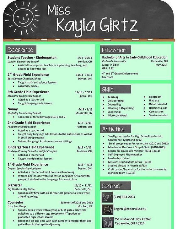 Could be a cute format for a teacher resume Teacher Career Tips - kindergarten teacher resume sample