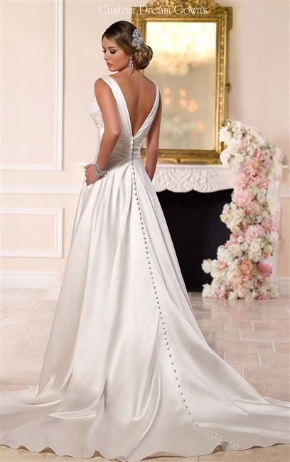 2016 simple sexy v neck low back wedding dress satin a for Satin low back wedding dress