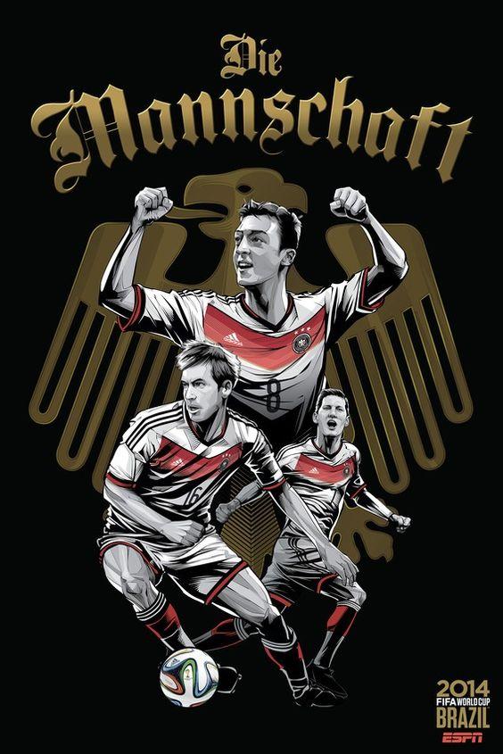 """Germany, """"Die Mannschaft""""  Call it German efficiency: """"Die Mannschaft"""" means """"The Team"""" in German. Simple, practical and formidable when spoken.   www.dribblingman.com"""