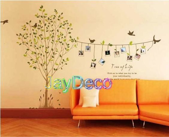 Vinyl Tree Wall Decals Tree Wall Stickers Interior Decal Home Decor Memories Tree Photos - 10 Photos Frame 5 Birds 75 inch(H) 118 inch(W). $46.99, via Etsy.