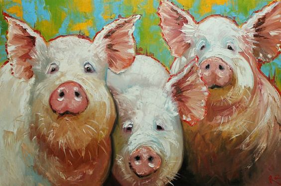 Pigs painting 2 24x36 inch original oil painting by Roz on Etsy, $375.00