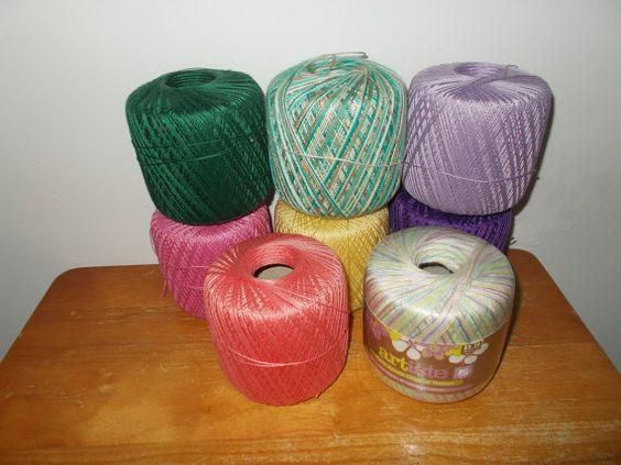 Cotton Crochet Yarn Lot of 8 Balls Mix of Colors by RomanceWriter