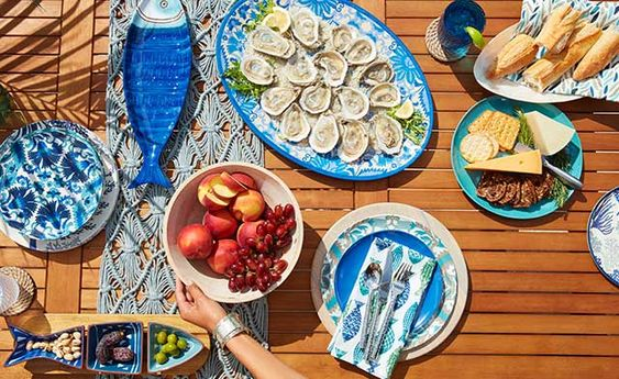 table setting images - blue