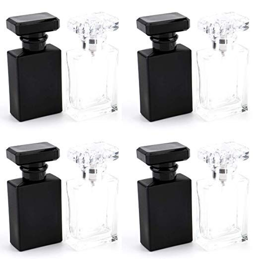 Amazon Com Foraineam 8 Pack 30ml 1 Oz Refillable Perfume Bottle Portable Square Empty Glass Refillable Perfume Perfume Atomizer Refillable Perfume Bottle