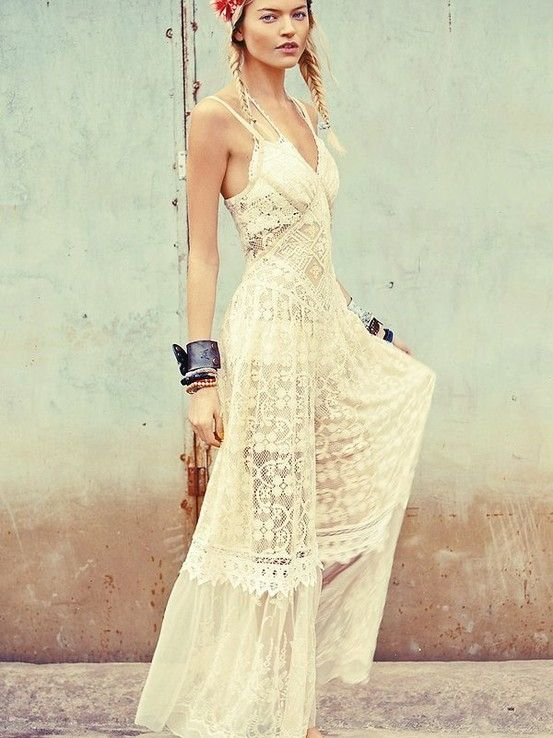 Cream colored maxi dress for Cream colored lace wedding dresses