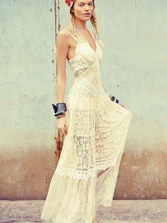 Cream colored maxi dress for Cream colored lace wedding dresses