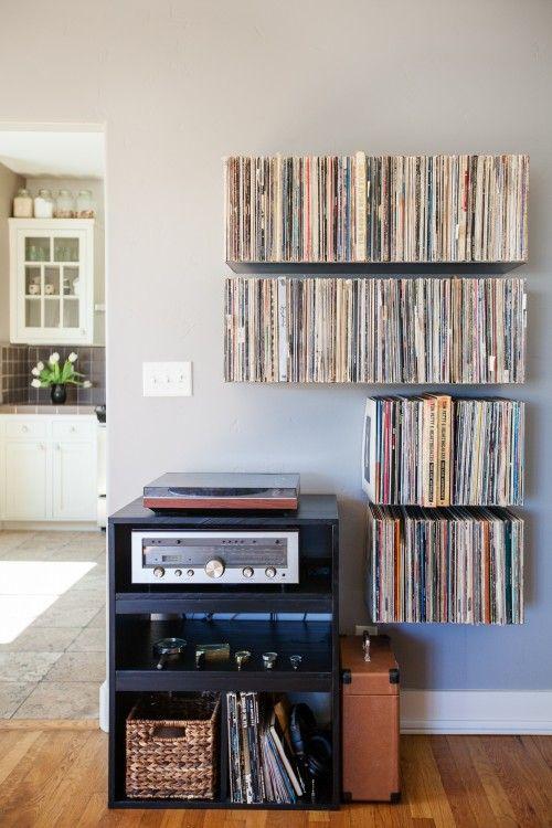 Floating record shelves by Mike Zimmerer of Zimm Metalworks via @Design*Sponge