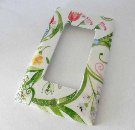 Spring Flowers rocker switch plate by Sybillinart on Etsy, $12.00