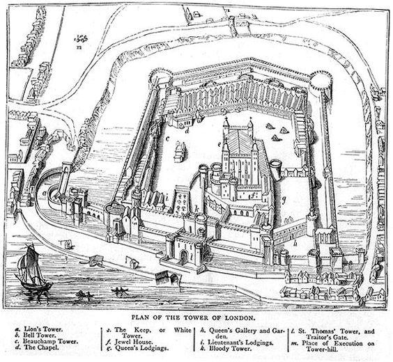 The Tower of London. When Alice Wolff escaped in 1534, she climbed down the walls of St Thomas' Tower (above Traitor's Gate) using a rope ladder.