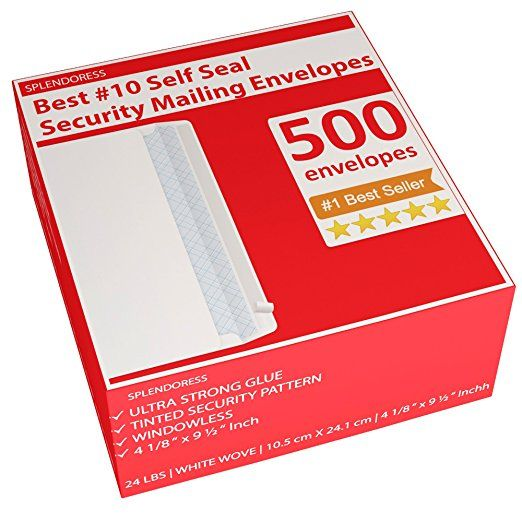 Splendoress 10 Security Mailing Envelopes Strip Self Seal Security Tinted No 10 Business White L Business Envelopes Security Envelopes Mailing Envelopes