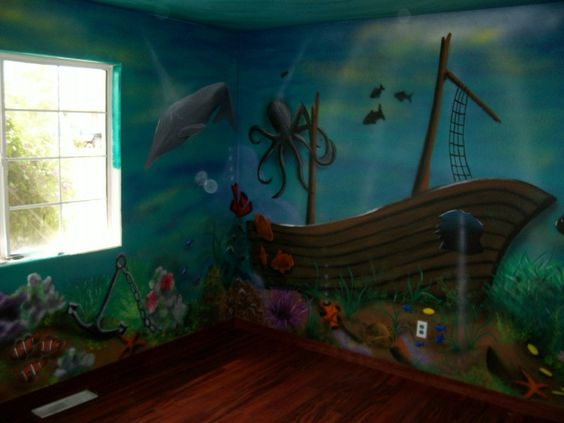 I like the ship but the pic is too dark aquatic bedroom for Underwater mural ideas