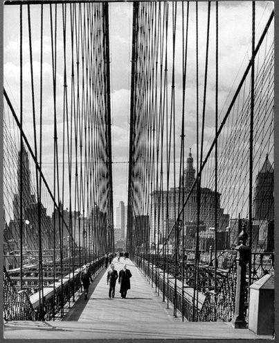 NYC. brooklyn bridge, 1940.