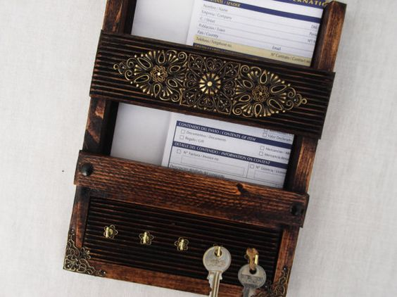 Key rack letter organizer and wooden walls on pinterest - Wooden letter and key holder ...