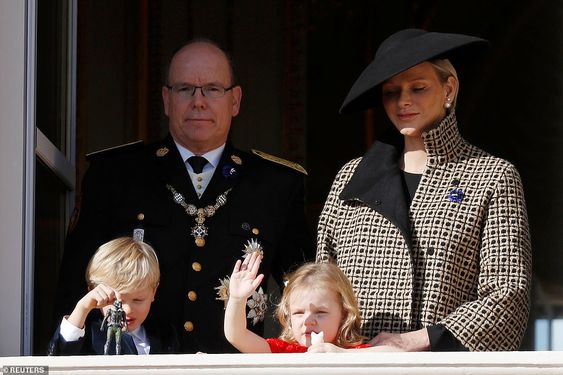 Three-year-old twins Jacques and Gabriella joined their parents Prince Albert and Princess Charlene on the balcony of the palace of Monte Carlo for National Day celebrations