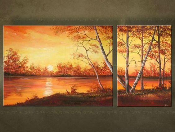 Ručne maľovaný obraz KRAJINA 2 dielny 2793FA