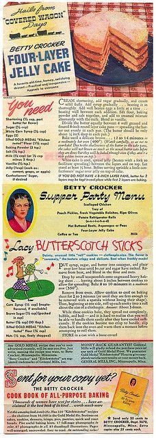 General Mills Recipes Series 17 - Betty Crocker Four-Layer Jelly Cake, Butterscotch Sticks