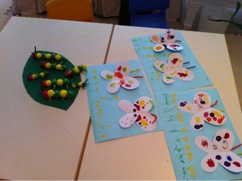 4月の工作 はらぺこあおむし より ひな祭り 制作 幼稚園の工作 デカルコマニー