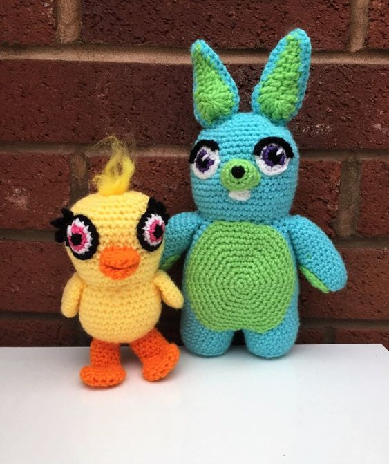 Ducky and Bunny Crochet Pattern, Toy Story Amigurumi Patterns, Ducky and Bunny Doll, Crochet Toys, E