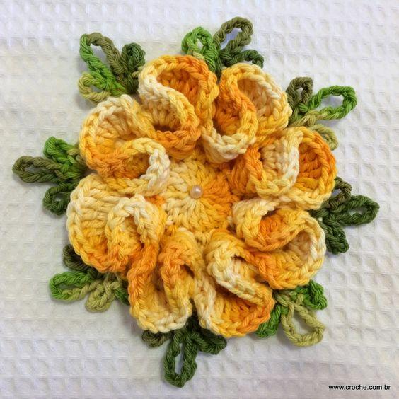 Flor cam?lia - Passo a passo - Croche.com.br flor de croche ...