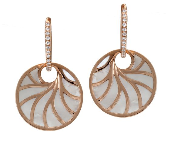 Frederic Sage Rose Gold, Diamond, and Mother of Pearl Earrings