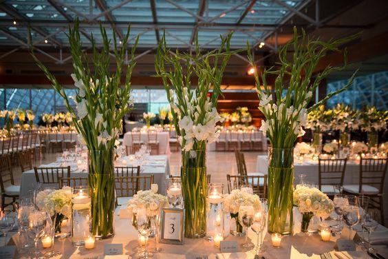 Modern White Gladiolus Centerpieces