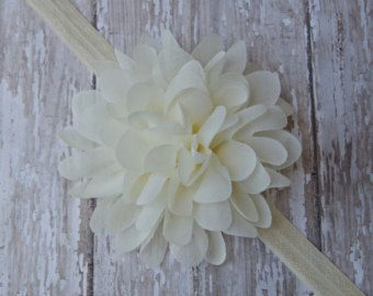 White Baby Headband Shabby Chic Baby Headband by polkadotsboutique