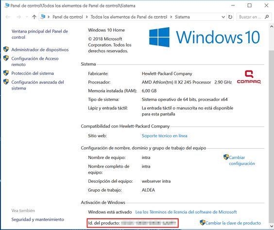 Nº de serie de Windows 10