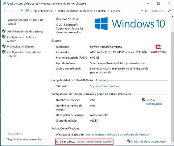 Nº de serie de Windows 10