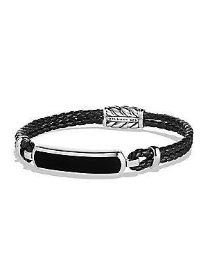 David Yurman Engraved Silver Bracelet - Black