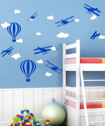 Biplanes and Clouds - Wall Decals for Kids Room