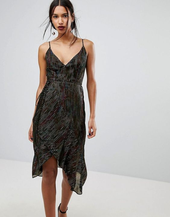 #ASOS - #Warehouse Warehouse Rainbow Shimmer Stripe Dress - Black - AdoreWe.com