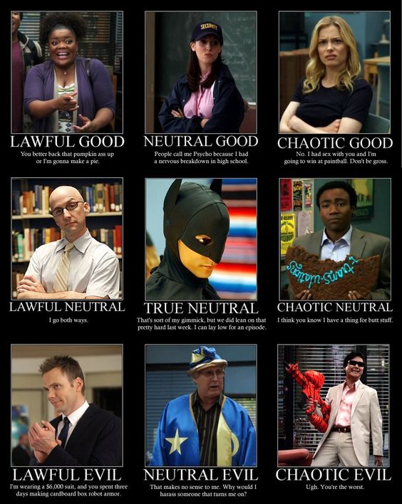 """A friend put me on one of these charts not too long ago; she listed me as """"chaotic good"""", which puts me on par with Britta. Which I'm sort of okay with."""