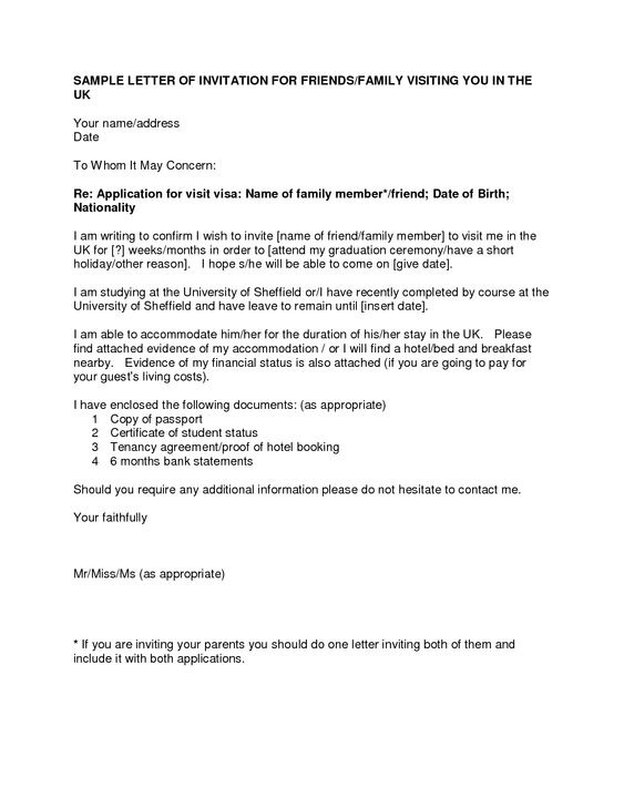 Letter Of Invitation For Uk Visa Template Resume Template – Immigration Sponsorship Letter