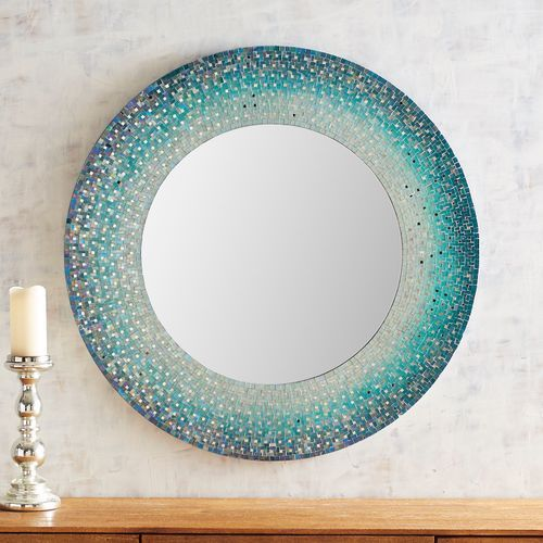 Shades Of Blue Mosaic 36 Round Mirror Mosaic Mirror Frame Blue Mosaic Round Mirrors