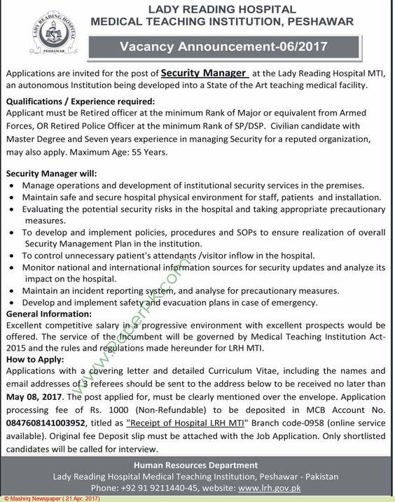 Lady Reading Hospital Peshawar Jobs   Jobs In Pakistan