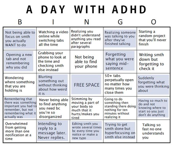 A day with ADHD bingo.