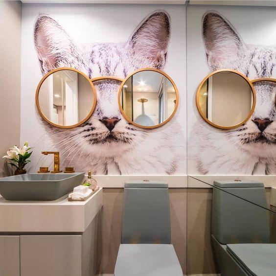 Funky Cat Bathroom With Round Mirrrors Decor Design Salon Decor
